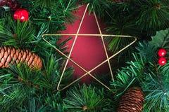 Sluit omhoog ster op de groene kroon van pijnboomkerstmis en denneappel, Cher royalty-vrije stock afbeeldingen