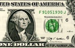 Sluit omhoog van één die dollar op witte achtergrond wordt geïsoleerd Royalty-vrije Stock Afbeelding