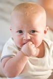 Sluit omhoog van aanbiddelijke mollige baby stock afbeeldingen