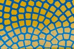 Sluit omhoog van Abstract Geel en Blauw Patroon Stock Fotografie