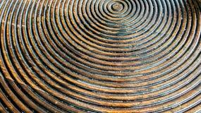 Sluit omhoog van Abstract Naadloos Patroon van Rustiek Houten Comité in Ronde die of Cirkelvorm als Geweven Malplaatje van Achter Stock Fotografie