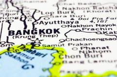 Sluit omhoog van Bangkok op kaart, Thailand Royalty-vrije Stock Foto