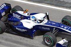 Sluit omhoog van Barrichello bij Maleise F1 Stock Afbeelding