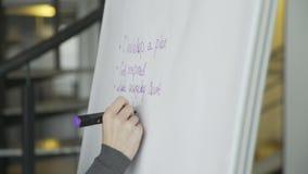 Sluit omhoog van bedrijfsvrouwenhand het schrijven businessplan op flipchart stock videobeelden