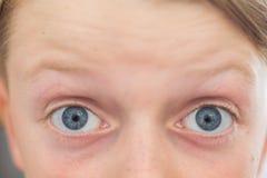Sluit omhoog van 8 blauwe ogen van éénjarigen stock afbeeldingen