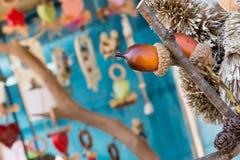 Sluit omhoog van bruine eikel op een tak Stock Foto