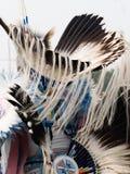 Sluit omhoog van Buitensporige Danser met Eagle Feather Headdress en Drukte met Bontwimpels royalty-vrije stock foto's