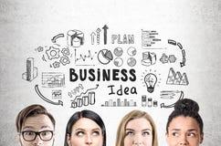 Sluit omhoog van commerciële teamgezichten, concreet idee, Stock Foto's