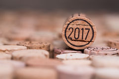 Sluit omhoog van cork van de het jaarwijn van 2017 uitstekende nieuwe met copyspace Royalty-vrije Stock Afbeelding