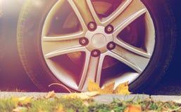 Sluit omhoog van van de autowiel en herfst bladeren Royalty-vrije Stock Foto's