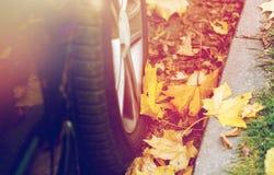 Sluit omhoog van van de autowiel en herfst bladeren Stock Fotografie