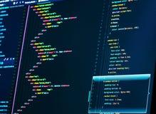 Sluit omhoog van de codage van HTML en css De code van de Webontwikkeling stock afbeelding