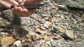 Sluit omhoog van de hand van de wandelingsvrouw makend foto van mier door smartphone op bergrivier met grote binnen keien en groe stock video