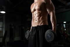 Sluit omhoog van de mens met domoren die in gymnastiek uitoefenen Stock Afbeelding