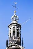 Sluit omhoog van de Munt-toren in Amsterdam Nederland Royalty-vrije Stock Afbeeldingen
