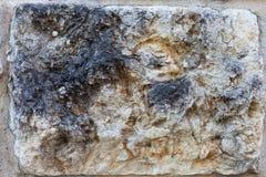Sluit omhoog van de plak van de steenmuur, grunge achtergrondtextuur Royalty-vrije Stock Foto