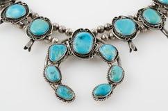 Sluit omhoog van de Turkooise Halsband van de Pompoenbloesem. Stock Foto