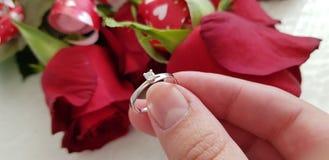 Sluit omhoog van de vrouwelijke verlovingsring van de handholding stock fotografie