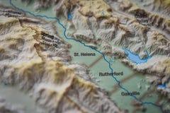 Sluit omhoog van de wijndistrict van St.Helena op 3D kaart Royalty-vrije Stock Fotografie