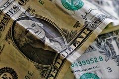 Sluit omhoog van 1 dollarbankbiljetten royalty-vrije stock afbeelding