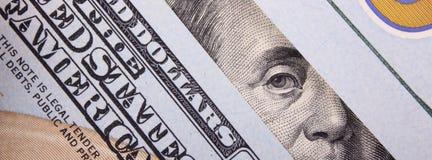 Sluit omhoog van dollarrekening Royalty-vrije Stock Foto's