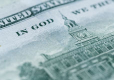 Sluit omhoog van 100 dollarsrekening in de munt van de V.S. Royalty-vrije Stock Afbeelding