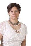 Sluit omhoog van een beatuiful vrouw - geïsoleerde achtergrond royalty-vrije stock foto's