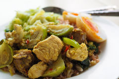Sluit omhoog van een beroemd lokaal Thais voedsel, een groene kippenkerrie met ongepelde rijst en een gekookt ei stock afbeelding