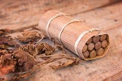 Sluit omhoog van een Cubaanse met de hand gemaakte doos van sigaren met droge tabaksbladeren Royalty-vrije Stock Foto