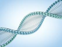 Sluit omhoog van een diagonale DNA-ketting tegen een achtergrond 3d geef terug Stock Foto's