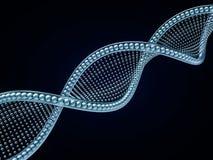 Sluit omhoog van een diagonale DNA-ketting tegen een zwarte achtergrond 3d Royalty-vrije Stock Foto