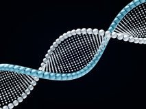 Sluit omhoog van een diagonale DNA-ketting tegen een zwarte achtergrond 3d Stock Fotografie
