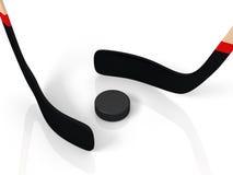 Sluit omhoog van een een ijshockeystok en puck Royalty-vrije Stock Afbeelding