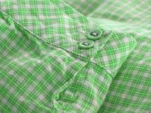 Sluit omhoog van een geruit overhemdsmanchet. Royalty-vrije Stock Foto