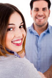 Sluit omhoog van een glimlachend paar Royalty-vrije Stock Foto's