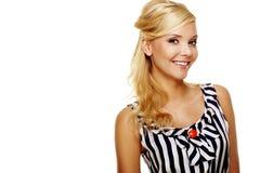 Sluit omhoog van een Glimlachende Jonge Bedrijfsdame Royalty-vrije Stock Afbeeldingen