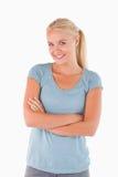 Sluit omhoog van een glimlachende vrouw Royalty-vrije Stock Afbeeldingen