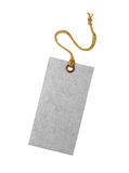 Sluit omhoog van een grijs leeg die etiket op witte achtergrond wordt geïsoleerd Stock Fotografie