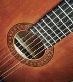 Sluit omhoog van een klassieke gitaar in hdr royalty-vrije stock afbeelding