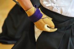 Sluit omhoog van een Kyudo-Handschoen stock afbeeldingen