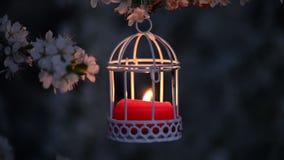 Sluit omhoog van een leuke rode kaars in witte kaarslantaarn in avond stock videobeelden