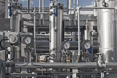 Sluit omhoog van een moderne installatie van de aardgasverwerking Stock Foto's