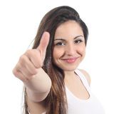 Sluit omhoog van een mooie tiener met omhoog duim Royalty-vrije Stock Fotografie