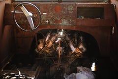 Sluit omhoog van een oud van de schip` s motor en cabine beheer Royalty-vrije Stock Foto's