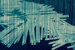 Sluit omhoog van een samenstelling van het witte en blauwe lichte buizen hangen Stock Foto's