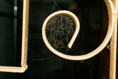 Sluit omhoog van een spinneweb in een venster stock afbeeldingen