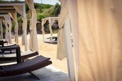 Sluit omhoog van een strandgazebo Royalty-vrije Stock Foto