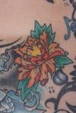 Sluit omhoog van een tatoegering van de lotusbloembloem Royalty-vrije Stock Afbeelding