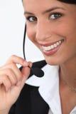 Sluit omhoog van een telefonist Stock Fotografie