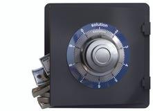 Sluit omhoog van een veilig slot en contant geldconcept oplossing en succes royalty-vrije stock fotografie